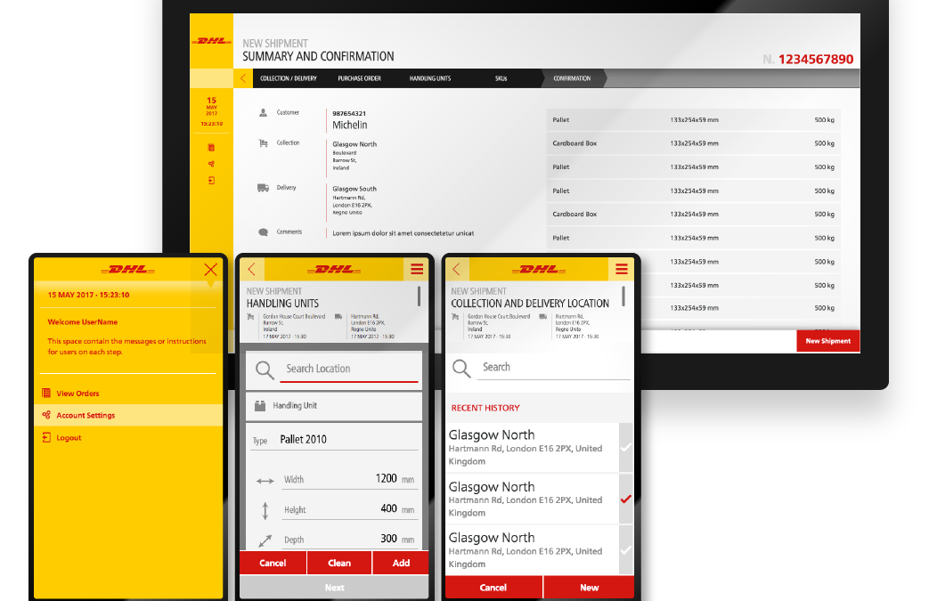 DHL Interfaccia Grafica responsive